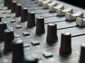 Mixing desk sound mixer closeup for music and sound entertainment themes Stock Image