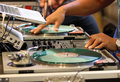 Mixing dj disk jockey or scratching Royalty Free Stock Image