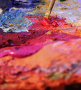 Mixing oil paints Royalty Free Stock Photography
