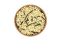 Mixture of wild and brown rice in a wooden bowl Royalty Free Stock Photo