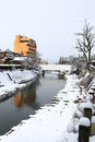 Miyagawa river surrounded with snow takayama japan Stock Images