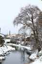 Miyagawa river surrounded with snow takayama japan Royalty Free Stock Images