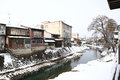Miyagawa river surrounded with snow takayama japan Royalty Free Stock Photos