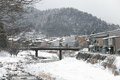 Miyagawa river surrounded with snow takayama japan Royalty Free Stock Photo