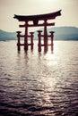 Miyajima famous big shinto torii standing in the ocean in hiroshima japan Royalty Free Stock Images