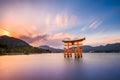 Miyajima hiroshima japan at the great gate of itsukushima shrine gate sign reads itsukushima shrine Royalty Free Stock Photos