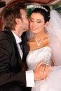 Mjuk kyss på bröllop-dag Arkivfoto