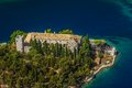 Mljet aerial helicopter shoot of national park on island dubrovnik archipelago croatia monastery of saint mary on a small island Stock Image