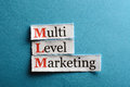 Mlm abbreviation multi level marketing on blue paper Stock Photos
