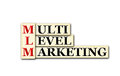 Mlm conceptual multi level marketing acronym on white Stock Image