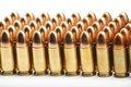 Mm bullets in a row on white background Royalty Free Stock Photography