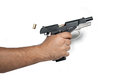 Mm pistol a handgun shot in a white background Royalty Free Stock Image