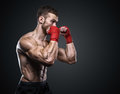 MMA Fighter Preparing Bandages For Training. Royalty Free Stock Photo