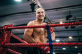 MMA fighter stands in corner and smiled Royalty Free Stock Photo