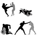 Mma fighters silhouettes Stock Photos
