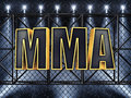 Mma text and sport stage lighting Stock Photo