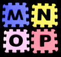 MNOP Alphabet learning blocks isolated Black Royalty Free Stock Photo