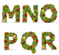 MNOPQR,  christmas tree font Stock Photos
