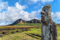 Moai at ahu tongariki close up of a with the quarry of rano rraraku in the background easter island rapa nui chile Royalty Free Stock Images
