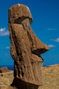 Moai face detailed view of buried at rano raraku on rapa nui Stock Photos