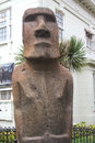 Moai statue in the front of museo fonck in vina del mar chile march on march is part Stock Photo