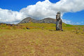 Moai stone statue at rapa nui easter island the quarry on polynesia chile Stock Photography
