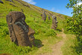 Moai stone statues at rapa nui easter island polynesia chile Stock Photos
