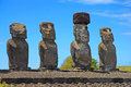 Moai stone statues at rapa nui easter island polynesia chile Royalty Free Stock Photography