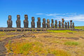 Moai stone statues at rapa nui easter island polynesia chile Royalty Free Stock Images
