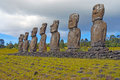 Moai stone statues at rapa nui easter island polynesia chile Royalty Free Stock Photo