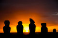 Moai at Tahai on Easter Island during sunset Royalty Free Stock Photography