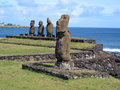 Moais of Easter Island Royalty Free Stock Photo