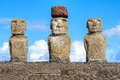 Moais in Rapa Nui National Park on the Ahu Tongariki on Easter Island, Chile. Royalty Free Stock Photo