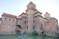Moat and Castello Estense in Ferrara, Royalty Free Stock Photos