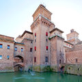 Moat and Castello Estense in Ferrara Stock Photos