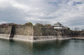 The moat and castle wall of Osaka city Royalty Free Stock Photo