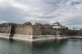 The moat and castle wall of Osaka city Royalty Free Stock Photo