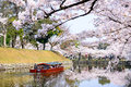 Moat of hikone castle japan around in the spring Royalty Free Stock Photo