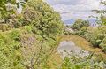 Moat and stone wall of Yamato Koriyama castle, Japan Royalty Free Stock Photo
