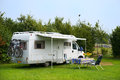 Mobil home camping with in agricultural landscape Stock Photography