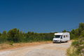 Mobil home in france landscape french on the road Royalty Free Stock Photo