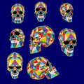 Skull colorful illustration from polygons. Typography, t-shirt graphics, vectors.