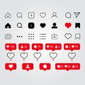 Set of social media icons inspired by Instagram: like, follower, comment, home, camera, user, search. Vector illustration with whi