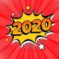 2020 New Year comic book style postcard or greeting card element