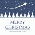 Merry Christmas card design of trees and shooting star in the sky Royalty Free Stock Photo