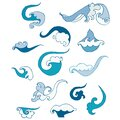 Wave decorative set. Blue icons hand drawn graphic art design element object isolated Royalty Free Stock Photo