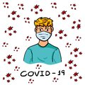 Vector of A Man Wearing a Protective Mask to Protect Covid-19 or Corona Virus Outtbreak