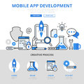 Mobile app development concept flat line art vector icons banner