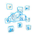 Mobile application cloud technology icon Stock Image