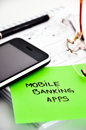 Mobile banking apps development concept Stock Images